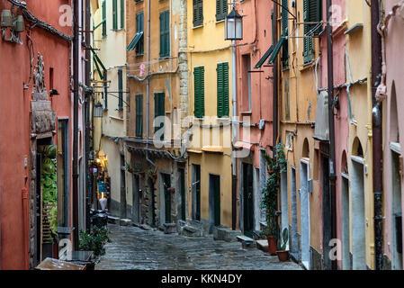 Charming village buildings and alley, Porto Venere, Liguria, Italy. - Stock Photo