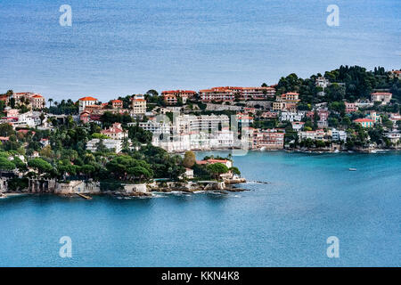 Aerial view of the French commune of Saint Jean Cap Ferrat, French Riviera, Côte d'Azur, France, Europe. - Stock Photo