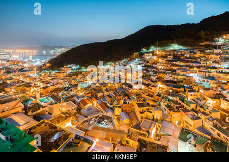 Gamcheon Culture Village at night in Busan, South Korea. - Stock Photo