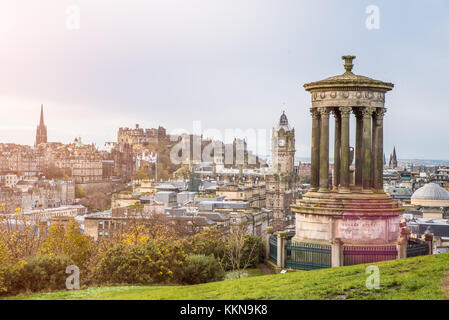 Dugald Stewart Monument in Edinburgh, view form carlton hill. - Stock Photo