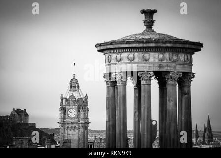Dugald Stewart Monument in Edinburgh, view form carlton hill. Black and white - Stock Photo