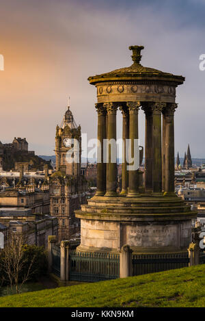 Dugald Stewart Monument in Edinburgh, view form carlton hill. Vertical photo. - Stock Photo