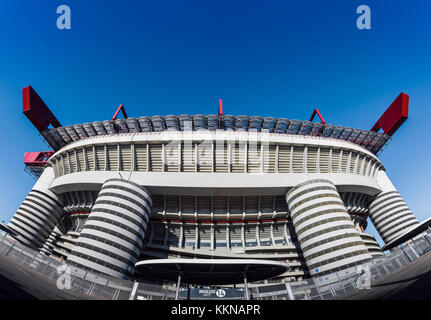 Fish eye view of San Siro in Milan, Italy is a football / soccer stadium (capacity 80,018) which is home to both - Stock Photo