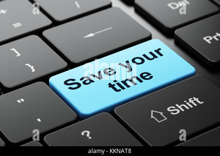 Time concept: Save Your Time on computer keyboard background - Stock Photo