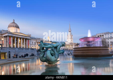 View of Trafalgar Square with the National Gallery, St Martin in the Fields church and fountains by Edwin Lutyens - Stock Photo