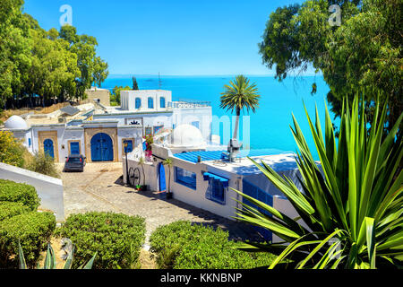 View of seaside resort  Sidi Bou Said. Tunisia, North Africa - Stock Photo