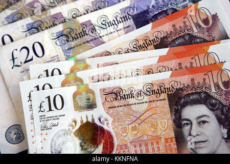 £10 and £20 pound Bank of England notes - Stock Photo