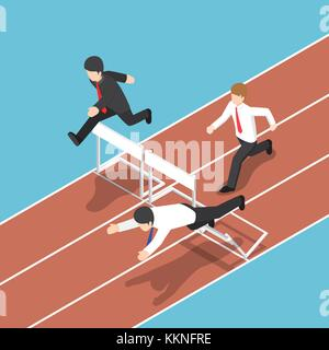 Flat 3d isometric businessman running with obstacle in hurdle race. Business competition concept. - Stock Photo