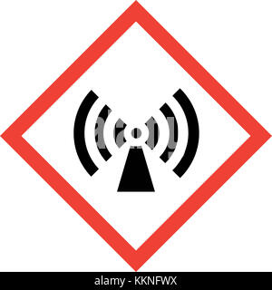 Hazard sign with non-ionizing radiation symbol - Stock Photo