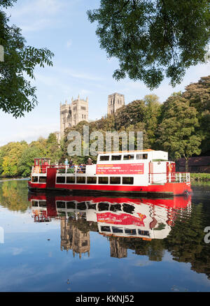 Prince Bishop River Cruiser, seen below Durham Cathedral on the river Wear, England, UK - Stock Photo