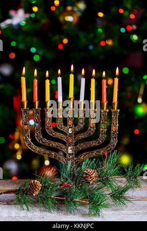 Hanukkah, the Jewish Festival of Lights Hanukkah Menorah defocused bokeh, bokeh light, bokeh background - Stock Photo