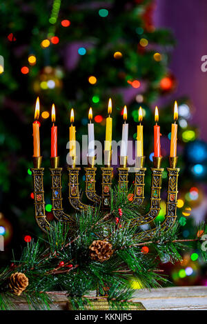 Hanukkah Menorah the Jewish Festival of Lights defocused bokeh, bokeh light, bokeh background - Stock Photo