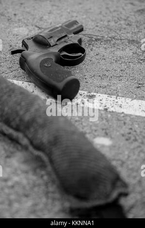 Gun laying on a table, Meillerie, france - Stock Photo