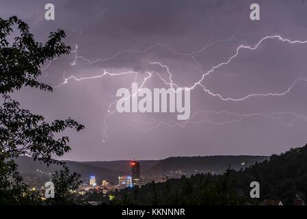 Thunderstorm over Jena, Thuringia, Germany - Stock Photo