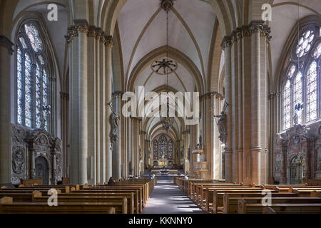 Nave from Paderborn Cathedral, Paderborn, North Rhine-Westphalia, Germany - Stock Photo