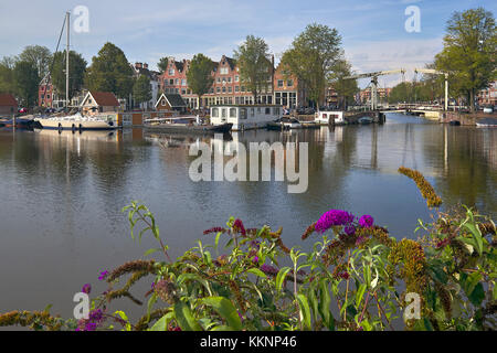 View from Westerdock to Zoutkeetsgracht in Amsterdam, North Holland, Netherlands - Stock Photo