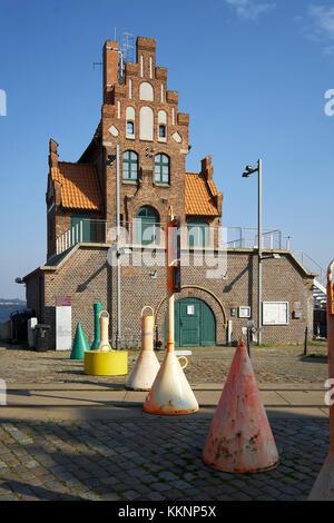 Pilot tower at the harbor of Stralsund, Mecklenburg-Vorpommern, Germany - Stock Photo