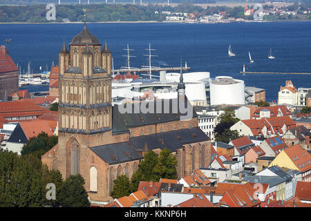 View from the St Marys Church to the St Jacobs Church with Oceaneum, Mecklenburg-Vorpommern, Germany - Stock Photo