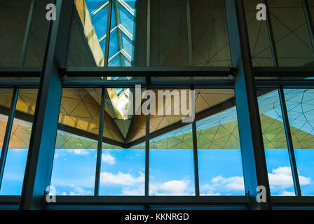 Saint Petersburg, Russia - May 13, 2016: The view of the roof of Pulkovo airport terminal from the inside through - Stock Photo