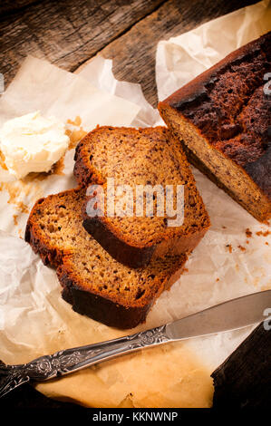Slices of banans bread and butter,from above - Stock Photo
