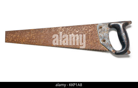 Old rusty crosscut saw isolated on white - Stock Photo