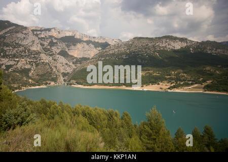 View of Lac de Sainte-Croix, Gorge du Verdon, France - Stock Photo