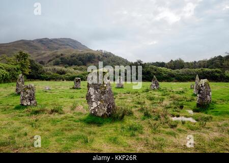 Lochbuie prehistoric stone circle on Isle of Mull, Inner Hebrides, Scotland. Dates from 2nd millennium BC - Stock Photo