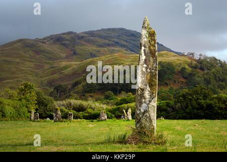 Lochbuie prehistoric stone circle on Isle of Mull, Inner Hebrides, Scotland. 2nd millennium BC. Seen from one of - Stock Photo