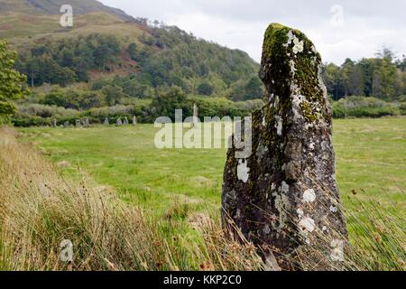Lochbuie prehistoric stone circle on Isle of Mull, Inner Hebrides, Scotland. 2nd millennium BC. Seen from most distant - Stock Photo