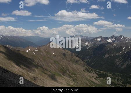 View from Col de la Bonette, France in June 2017 - Stock Photo