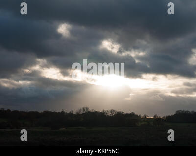 dramatic cloudy sky stormy weather elements above heavens; essex; england; uk - Stock Photo