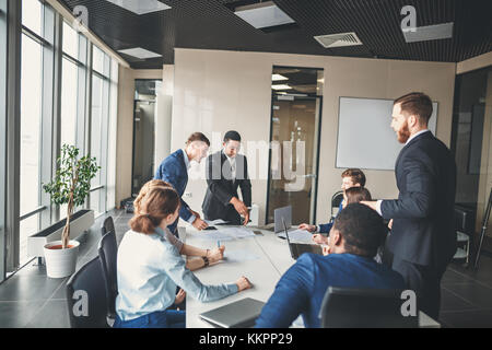 business team and manager in a meeting Stock Photo