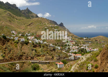 Anaga mountains with view on Taganana and the Atlantic, Tenerife, Canary Islands, Spain - Stock Photo