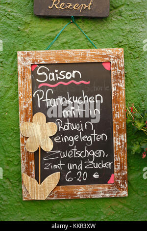Menu in the old town, Hildesheim, Lower Saxony, Germany - Stock Photo