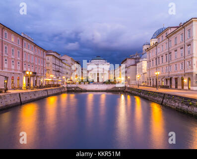 Afterglow over the Canal Grande in Trieste - Stock Photo