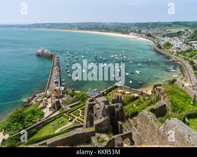 View on fishing harbour of Gorey from Mont Orgueil Castle - Stock Photo