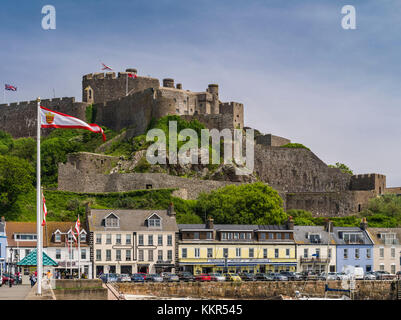 Gorey with Mont Orgueil Castle on Jersey - Stock Photo
