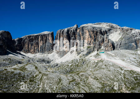 Dolomites with Piz Boe, Sella group, Corvara, aerial picture, South Tirol, Italy - Stock Photo