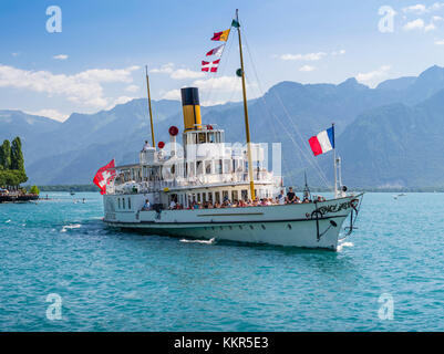 Steamboat on the Lake Geneva near Montreux - Stock Photo
