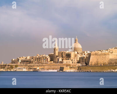 Skyline of Valletta on Malta with Carmelite's church and St Pauls Pro Cathedral - Stock Photo