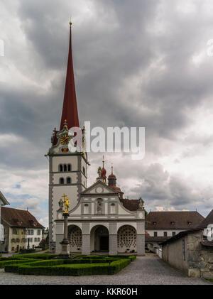 Collegiate church St Michael in Beromünster - Stock Photo