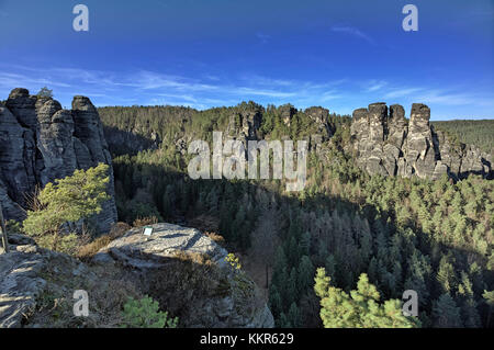 Schrammsteine around the bastion, Saxon Switzerland, Elbe Sandstone Mountains, Lohmen, Saxony, Germany - Stock Photo