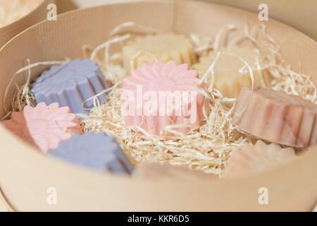 Hand-made soaps in the unpackaged 'Stückgut' shop, Altona, Hamburg, Germany - Stock Photo