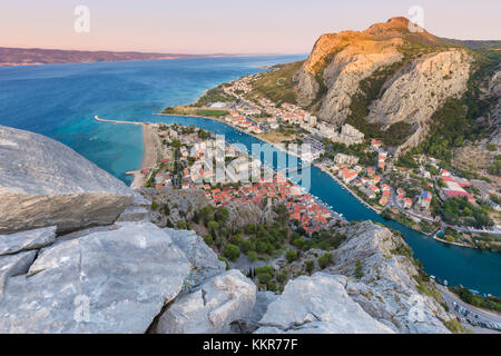 Elevated view of Omis and the Cetina river canyon, Dalmatia, Adriatic Coast, Croatia - Stock Photo