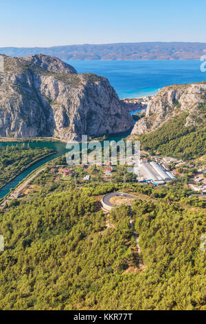 Cetina river canyon between the mountains, in the background Omis ant the adriatic sea, Dalmatia, Adriatic Coast, - Stock Photo