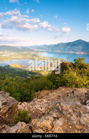 Panoramic view at dawn over Iseo lake, Brescia province in Lombardy district, Italy, Europe. - Stock Photo