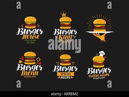 American food logo. Burger, cheeseburger, hamburger icon or label. Vector illustration - Stock Photo