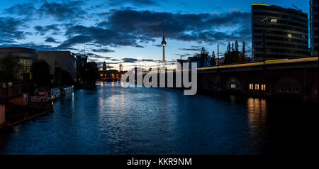 Large panorama view of the blue hour on the Spree in Berlin Mitte. - Stock Photo