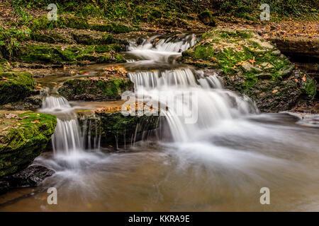 The Schlichemklamm waterfalls near the village Epfendorf in the black forest, lokally known as Schwarzwald - Stock Photo