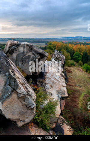The devils wall near Queldinburg in the german region Harz - Stock Photo